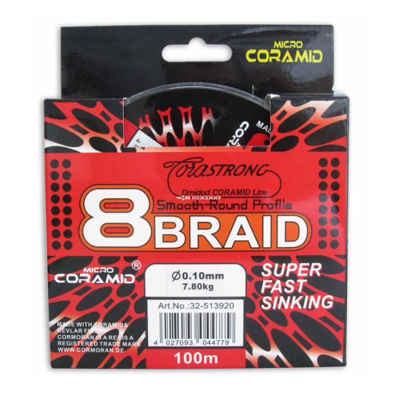 Шнур плетеный Cormoran 8 braid, 100 м, серый