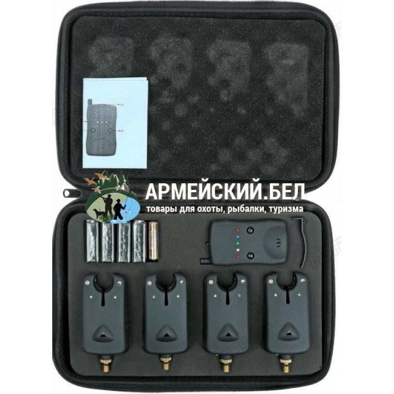 Набор сигнализаторов поклёвки с пейджером (беспроводной) в кейсе (4 в 1)