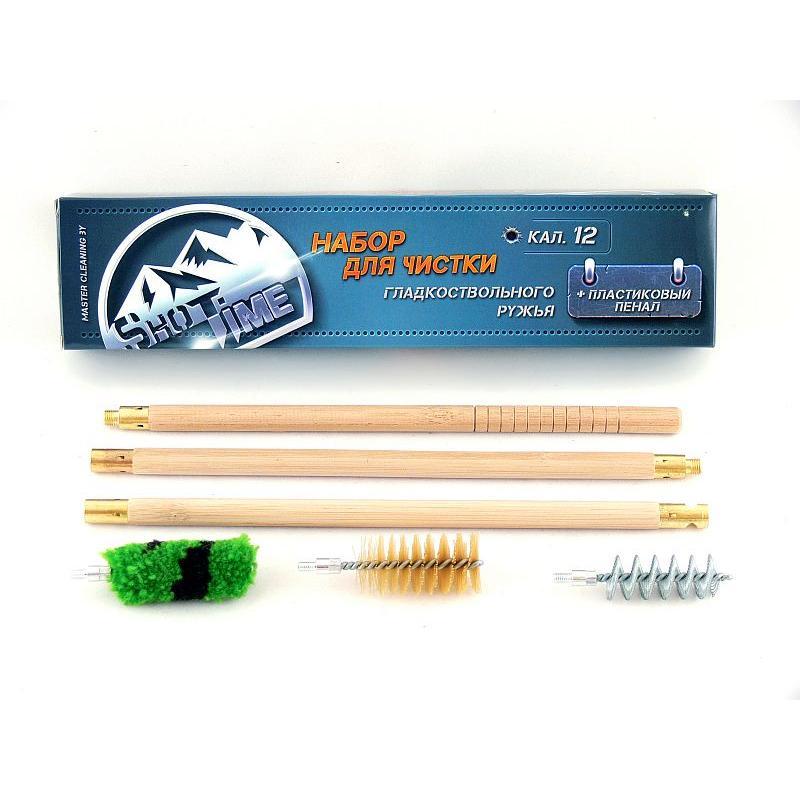 Набор для чистки ShotTime кал.12, для гладкоствольного оружия,  деревянный шомпол + 3 ерша