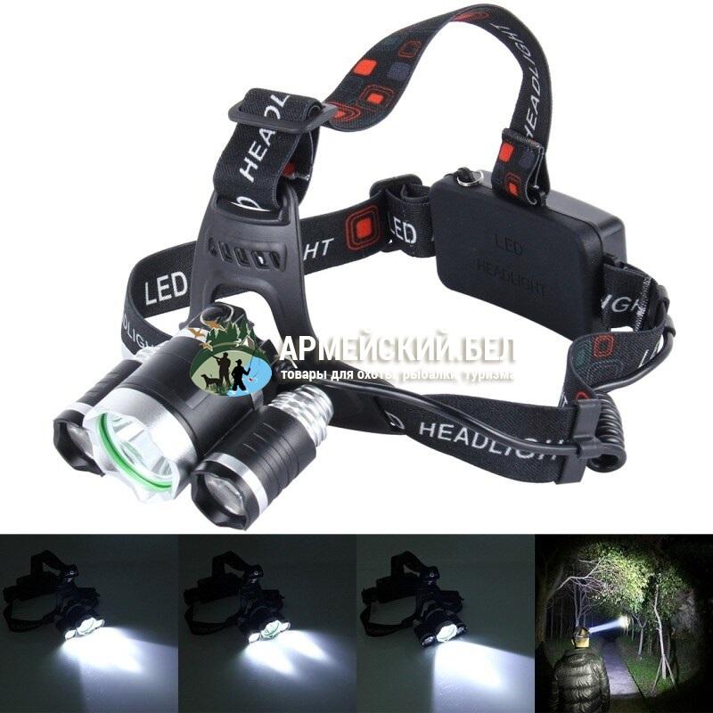 Мощный налобный светодиодный аккумуляторный фонарь HL-1809 (3 источника)