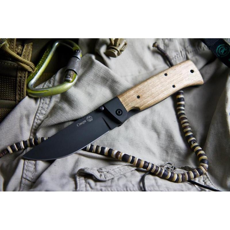 Нож складной СТЕРХ  сталь Х12МФ (вороненный, дерево/стальные притины)