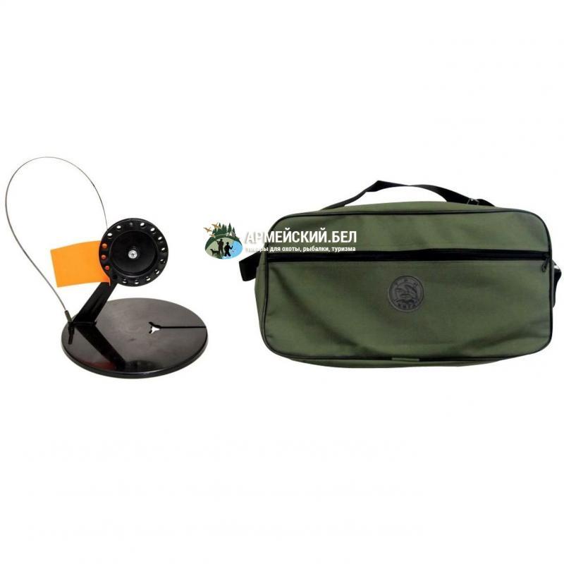 Жерлицы в сумке  ЩУКАРЬ, круглая с угловой стойкой черная катушка (упаковка-10 штук)